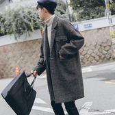 風衣 加厚夾棉格子落肩毛呢大衣男中長款韓版寬鬆呢子外套潮流 莎瓦迪卡