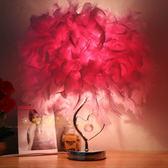 羽毛檯燈臥室床頭燈簡約現代浪漫創意歐式公主婚房暖光溫馨床頭燈【中秋節好康搶購】