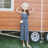 夏季條紋吊帶闊腿連體褲女2018新款韓版高腰寬鬆顯瘦九分連衣褲子   夢曼森居家