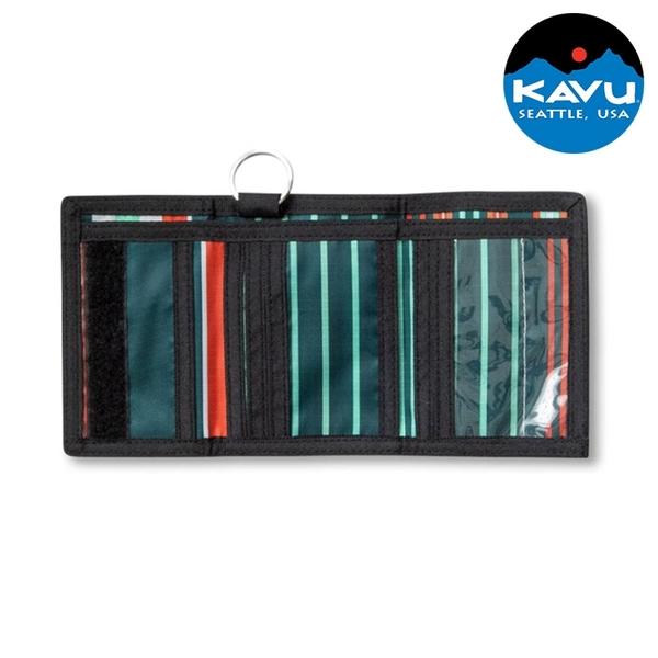 【KAVU】三折防潑水多功能包Revenue Wallet 9287 色階條紋 / 城市綠洲 (錢包 短夾 皮夾 卡片夾 美國品牌)