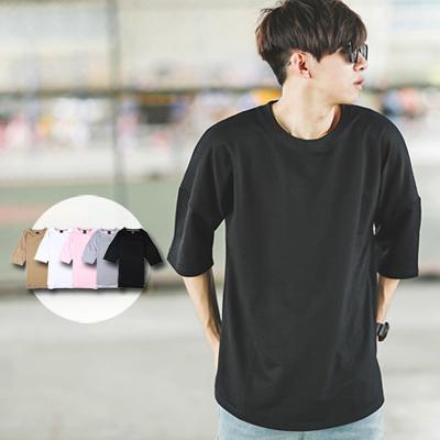 T恤 落肩側開衩高磅素面七分袖上衣 素T【NB0215J】