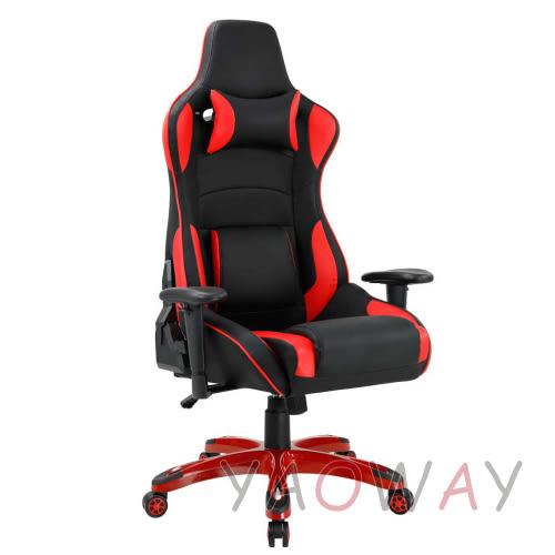 【耀偉】賽車電競椅-法拉利紅炫麗烤漆尼龍腳(人體工學椅/電腦椅/辦公椅)