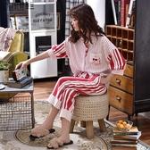 睡衣女春秋純棉中短袖七分褲夏季薄款女士全棉夏天家居服兩件套裝  【快速出貨】