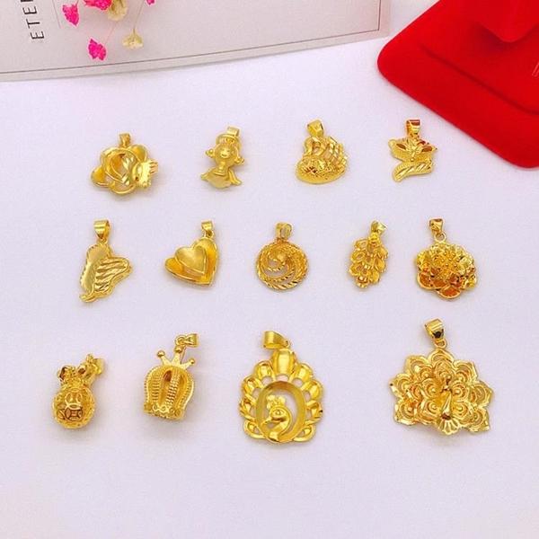 新款鍍金沙金吊墜仿黃金配飾 女天使福袋孔雀項鏈墜子不掉色首飾