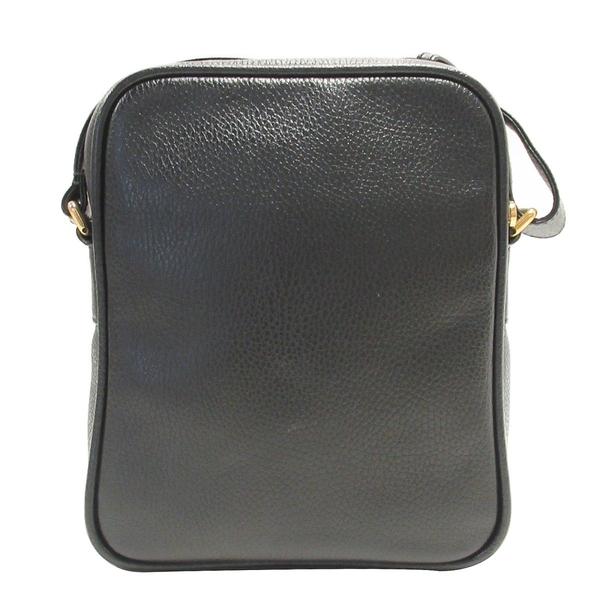 GUCCI 古馳 黑色牛皮復古印花肩背包 郵差包 Print Messenger Bag 523591【BRAND OFF】