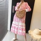 韓國chic復古民族風印花立領單排扣寬松百搭襯衫式荷葉邊洋裝女 好樂匯
