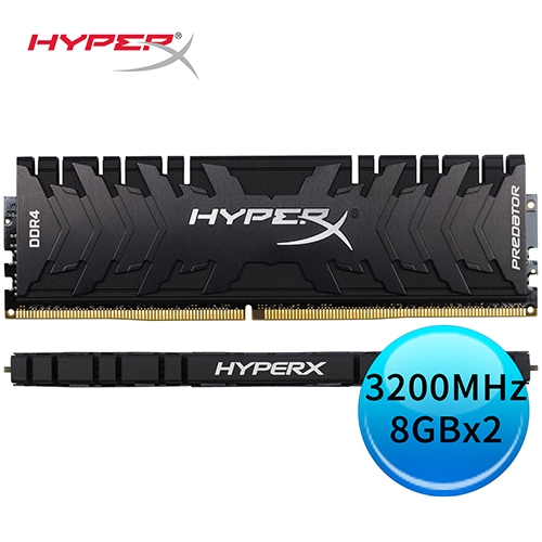 Kingston 金士頓 HyperX Predator DDR4 3200MHz 8GBx2 桌上型超頻記憶體 HX432C16PB3K2/16
