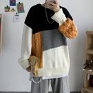 長袖男生韓版毛衣 男士毛衣時尚加厚上衣 潮流男裝個性秋冬保暖打底衫 日系拼接印花男生針織衫