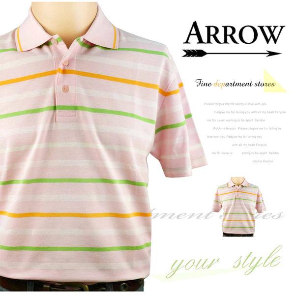 【大盤大】ARROW 箭牌 橫條紋 短袖polo衫 M號 翻領棉衫 休閒衫 百貨專櫃 純棉 父親節 情人節