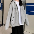 外套 灰色連帽拉鏈衛衣女開衫外套春韓版寬鬆學生印花上衣服【快速出貨八折下殺】