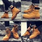 秋季馬丁男靴子工裝大黃英倫加絨中筒保暖軍靴冬季雪地棉鞋高筒鞋 簡而美