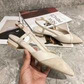 低跟鞋 尖頭一字扣粗跟涼鞋女低跟包頭仙女淺口百搭單鞋潮