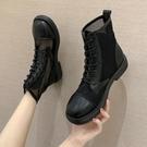 短靴 馬丁靴女春夏季薄款英倫風百搭短靴網紗透氣夏天鏤空涼鞋 晶彩 99免運