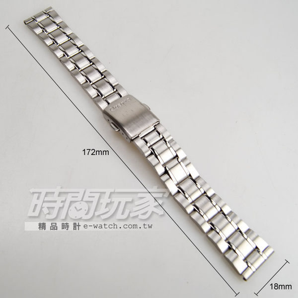 18mm錶帶 不銹鋼錶帶 銀色 QUSS18