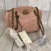 BRAND楓月 GUCCI 古馳 443501 粉色金鍊托特包 肩背包 單肩背包 金屬LOGO V紋印花 山形紋
