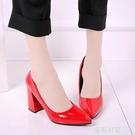 女秋2017新款韓版尖頭粗跟高跟鞋中跟單鞋工作鞋百搭皮鞋紅色婚鞋『潮流世家』