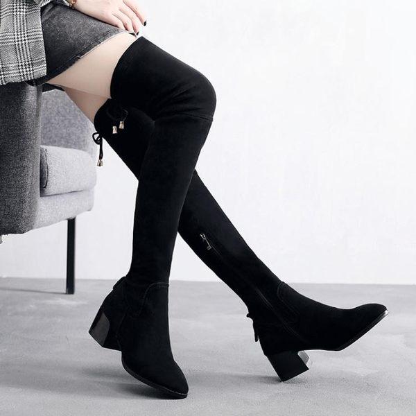 膝上靴 中跟粗跟靴子 過膝長靴女圓頭修身顯瘦彈力長靴高筒女靴韓版女鞋子【多多鞋包店】ds5276