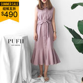 PUFII-洋裝 純色排釦棉麻魚尾連身裙長洋裝 (附綁帶)-0719 現+預 夏【ZP14975】