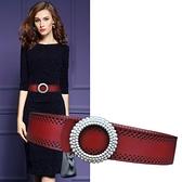 腰帶女寬簡約百搭時尚韓版裝飾配裙子腰封連身裙洋裝黑色皮質皮帶 8號店