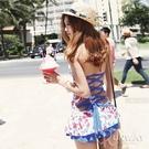 韓國 夏季 比基尼 泳衣 草莓 連身泳裝 沙灘衣 海邊 度假 超性感 可愛 春吶 泳裝 深V 綁帶 連身款