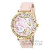 〔小禮堂〕美樂蒂 日製皮革手錶《橘.坐姿.玫瑰.兔子.蝴蝶結》精緻盒裝 4937996-77612