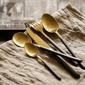 黑金色拉絲創意304不銹鋼西餐刀叉勺牛排刀叉子餐具三件套 概念3C旗艦店