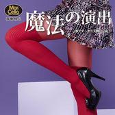 瑪榭 心機系-魔法的演出 雙色玩彩假膝上褲襪/絲襪 - 直條紅