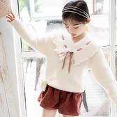 兒童毛衣 女童毛衣2019新款洋氣兒童水貂絨秋冬針織打底衫套頭保暖線衣正韓