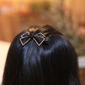 發飾菱形網紗蝴蝶結頂夾鑲鉆鴨嘴夾
