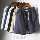 Free Shop 夏季舒適亞麻五分短褲...