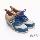 effie 俏麗悠活 金箔羊皮拼接牛皮撞色楔型休閒鞋 藍色