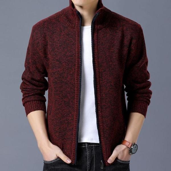 開衫外套男士加絨毛衣外套青中年加厚立領秋冬修身開衫夾克秋冬保暖針織衫 新年禮物