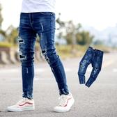 牛仔褲 抓破抽鬚黑色補丁彈性窄版牛仔褲【NB0904J】