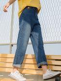 爾給chic直筒牛仔褲女春秋2019新款韓版寬鬆學生bf復古港味風褲子