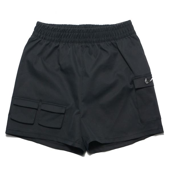 NIKE 運動褲 短褲 黑 立體銀勾 口袋 抽繩 休閒 NSW SWOOSH 女(布魯克林) CZ9382-010