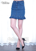 Victoria  花苞合身牛仔及膝裙-中深藍-V9008477