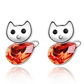 水晶耳環 925純銀耳針式-可愛貓咪生日情人節禮物女飾品4色73bd265【時尚巴黎】