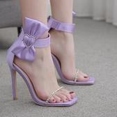 歐美新款水鉆蝴蝶結大碼高跟一字涼鞋女 夜店舞臺表演高跟鞋
