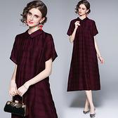 中大尺碼洋裝連身裙~天絲連身裙女輕熟風寬松大碼長裙紫色氣質貴夫人H405A莎菲娜