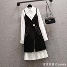 大碼女裝春季2021新款胖妹妹時尚遮肉顯瘦減齡襯衫洋裝兩件套裝 蘿莉新品