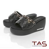 TAS金屬飾鍊牛皮楔型拖鞋-簡單黑