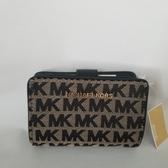 美國代購 Michael Kors 專櫃最新款 咖啡色布面MK大Logo經典 釦式雙摺中夾 限量款