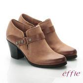 effie 魅力時尚 全真皮雙色魔鬼氈粗跟踝靴 淺咖