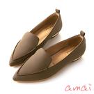 amai簡約低調素面尖頭樂福鞋 棕