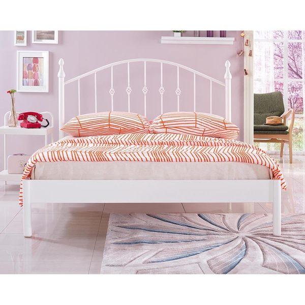 【森可家居】菲柏簡約5尺白色鐵床台 7JX80-1