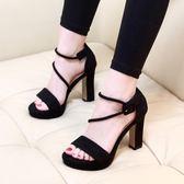 韓版時尚防水臺涼鞋絨面顯瘦跟鞋百搭學生氣質女鞋