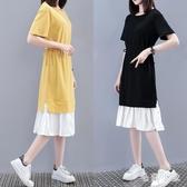 短袖連身裙 大碼胖MM新款夏季棉质拼接假兩件松緊腰中長款裙 EY10399【毛菇小象】
