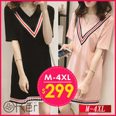 中大尺碼 V領拼接條紋連衣裙 M-4XL O-Ker歐珂兒 143720-版型偏小建議挑大一號-C