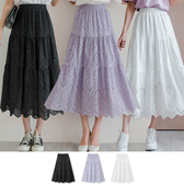 MIUSTAR 洞洞刺繡鏤空鬆緊棉麻長裙(共3色)【NH1637】預購