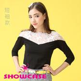 【SHOWCASE】V字透膚蕾絲拼接棉質T恤(黑/白)